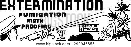 Extermination - Retro Ad Art Banner For Rodents And Insects