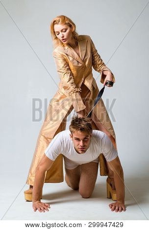Who Is Boss Here. Dominating Foreplay Sexual Game. Woman And Man Playing Domination Games. Love Rela