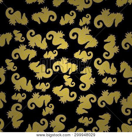 Vector. Sea Horse Hippocampus Watercolor Illustration On Black, Beige And Yellow Background. Abstrac
