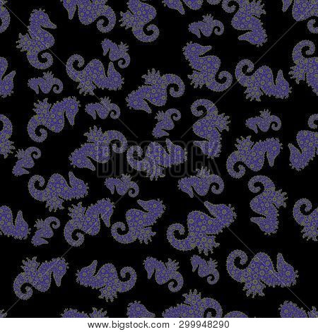 Summer Exotic Symbol. Cute Seamless Pattern For Girls, Boys, Clothes, Wallpaper. Funny Hippocampus.