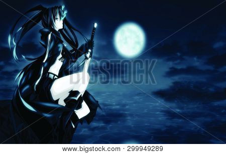Anime Girl In Black Dress And Weapon In Hand With Moon In Background