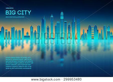 Retro Background Futuristic Landscape 1980s Style. Futuristic Skyscraper City. Digital Landscape Cyb