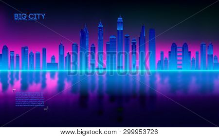 Retro Wave Background80s. City80s Future Retro Synth Illustration City Bay With Reflection In Water.