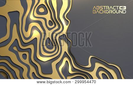 Luxury Background For Presentation. Gold On Black Vector Wallpaper 3d Backdrop. Black And Golden Des