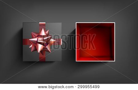 Surprise Gift Box. Present Vector Ribbon. Birthday Celebration Illustration With Red Bow. Christmas