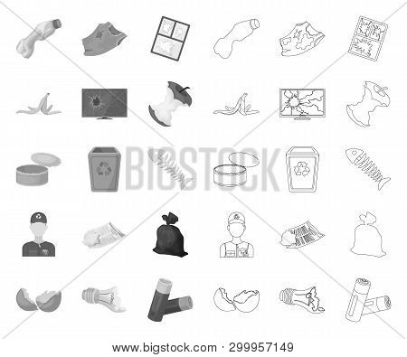 Garbage And Waste Mono, Outline Icons In Set Collection For Design. Cleaning Garbage Vector Symbol S