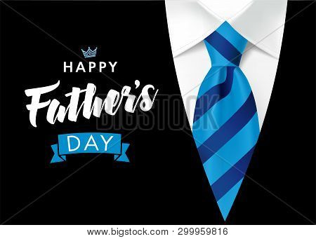 Happy Fathers Day Greeting Card. Banner Concept With Blue Striped Necktie And Men Suit On Background