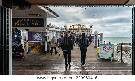 Brighton And Hove, Sussex, Uk - January 2019: The Brighton Pier, Also Known As The Palace Pier, Is A