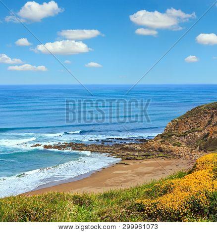 Beach Azkorri Or Gorrondatxe In Getxo Town, Biscay, Basque Country, Spain. People Unrecognizable.