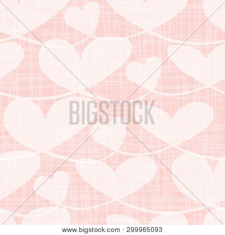 Beautiful Transparent Pastel Hearts With Watercolor Grid Texture. Seamless Vector Pattern On Pink Ba