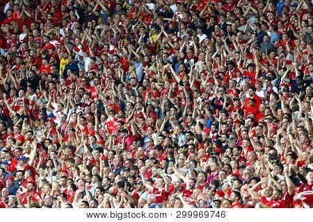 Kyiv, Ukraine - May 26, 2018: Crowd Of Liverpool Supporters Show Their Support During The Uefa Champ
