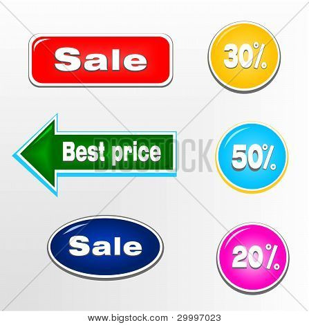 Set of sale tickets, stamps and labels