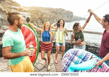 Young Friends Vacationer Having Fun At Natural Pool On Travel Location - Happy Millenial People Danc