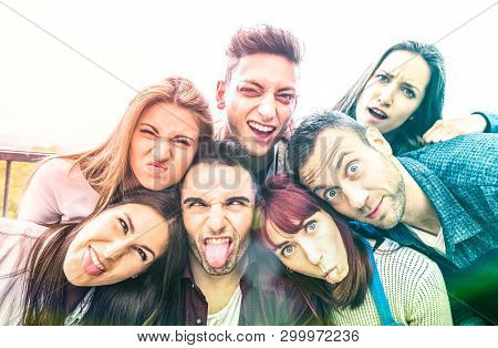 Multicultural Millenial Friends Taking Selfie With Funny Faces - Happy Youth Friendship Concept With