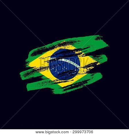 Grunge Textured Brazilian Flag. Vector Brush Painted Flag Of Federative Republic Of Brazil Isolated