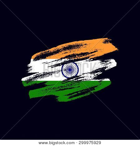 Grunge Textured Indian Flag. Vector Brush Painted Flag Of Republic Of India Isolated On Dark Blue Ba