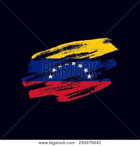 Grunge Textured Venezuealan Flag. Vector Brush Painted Flag Of Bolivarian Republic Of Venezuela Isol