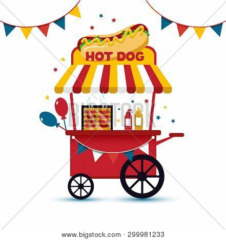 Fast Food Hot Dog Cart And Street Hot Dog Cart. Hot Dog Cart Street Food Market, Hot Dog Cart Stand