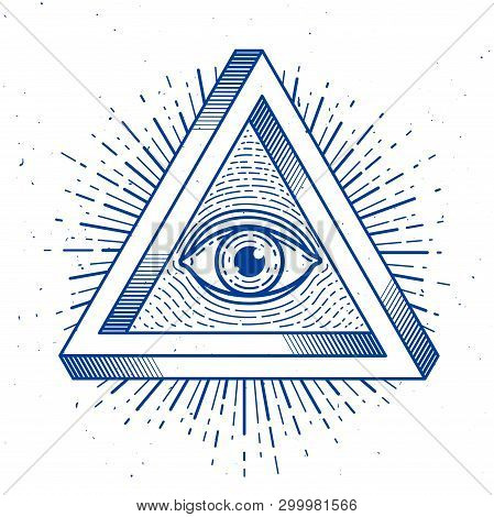 All Seeing Eye Of God In Sacred Geometry Triangle, Masonry And Illuminati Symbol, Vector Logo Or Emb