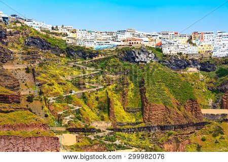 Fira Panoramic View, Santorini Island With Donkey Path And Cable Car From Old Port, High Volcanic Ro