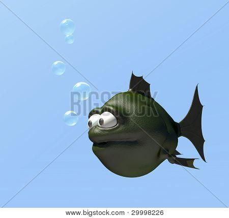 strange cartoon fish and bubbles - 3d illustration poster