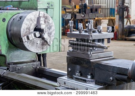 Close Up Of A Lathe Grinding Machine In A Factory