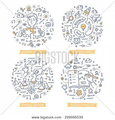 Doodle Vector Concepts Of Strategy Planning, Creating Business Plan, Setting Goals To Success, Makin