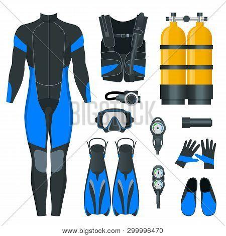 Mans Scuba Gear And Accessories. Equipment For Diving. Idiver Wetsuit, Scuba Mask, Snorkel, Fins, Re