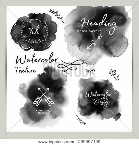 Set Of Dark Gray Black Watercolor Vector Circle Stains Isolated On White With Realistic Paper Waterc