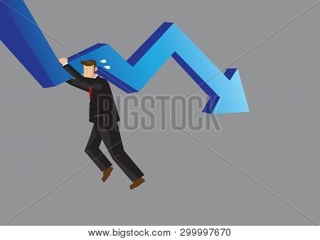Cartoon Businessman Struggling And Hanging On To Declining Arrow. Business Illustration For Struggli