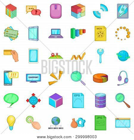 Organization Of Business Icons Set. Cartoon Style Of 36 Organization Of Business Icons For Web Isola