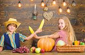 Reasons why every child should experience farming. Held responsible for daily farm chores. Kids farmers girl boy vegetables harvest. Children presenting farm harvest wooden background. Family farm poster