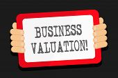 Word writing text Business Valuation. Business concept for determining the economic value of a whole business Color Tablet Smartphone with Blank Screen Handheld from the Back of Gadget. poster