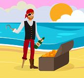 Pirate Found Gold Flat Color Cartoon Character. Man in Bandana and Eyepatch Vector Illustration. Guy with Hand Hook Discovered Chest with Coins. Corsair Celebrating Successful Treasure Hunt poster