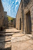 A beautifully preserved stone alley in the top tourist destination of Qinbi village on Beigan island of the Matsu Islands in Taiwan poster