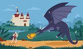 Brave knight or swordsman fighting with dragon against medieval castle on background. Legendary hero struggle against evil monster. Scene from fairytale or legend. Flat cartoon vector illustration. poster