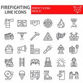 Firefighter line icon set, fireman symbols collection, vector sketches, logo illustrations, fire safety signs linear pictograms package isolated on white background. poster