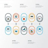 Hardware icons colored line set with laptop, printer, wi-fi modem and other workstation elements. Isolated  illustration hardware icons. poster