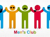 Man day international holiday, gentleman club, male solidarity concept vector illustration icon or greeting card. poster