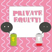 Text sign showing Private Equity. Conceptual photo the money invested in firms which have not gone public Fully Charged and Discharged Battery with Two Colorful Emoji Speech Bubble. poster