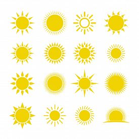 Set Of Sun Vector Isolated On White Background. Sun Collection Logo Icon Vector. Sun Star Collection