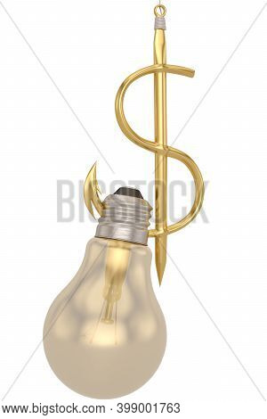 Light Bulb And Dollar Sign Fishhook Isolated On White Background. 3D Illustration