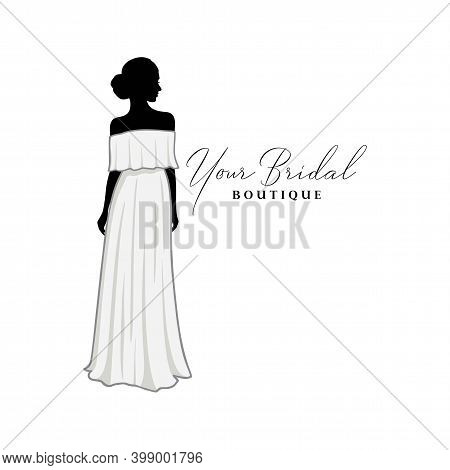 Wedding Dresses Boutique Logo, Bridesmaid Gown Logo, Bridal Gown Logo Vector Design Template