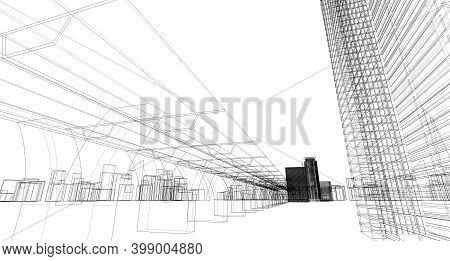 Abstract Architectural Drawing Sketch, City Scape, 3D Illustration.
