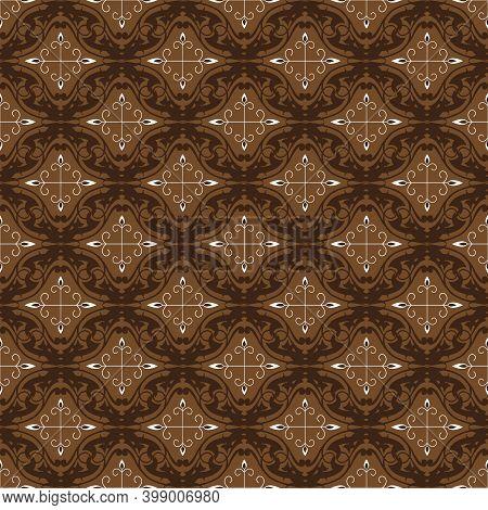 Cute Patterns Design On Fabric Jember Batik With Modern Dark Brown Color Concept.