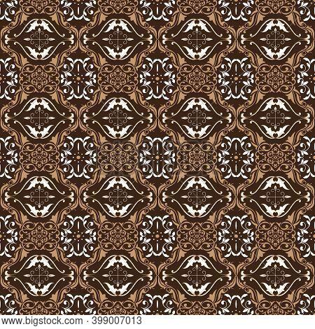 Elegance Flower Motifs On Indonesian Batik Design With Good Combination Color Design.