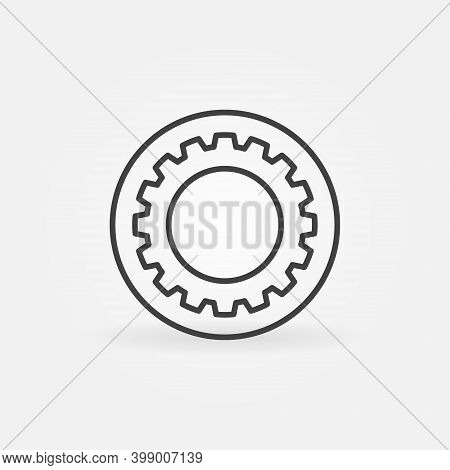 Circle With Gear Or Cog Vector Thin Line Concept Icon Or Logo