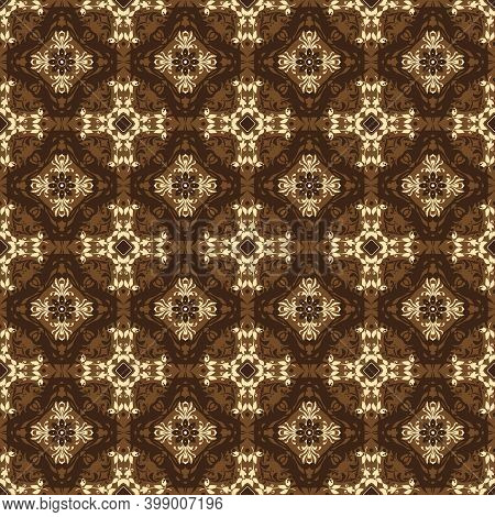 Modern Circle Motifs On Solo Batik With Good Dark Brown Color Design.