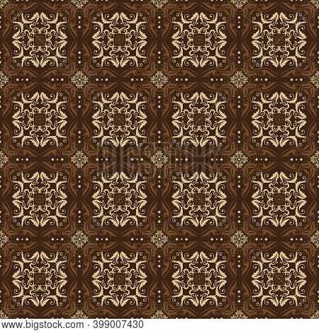 Elegant Patterns Design On Jepara Batik With Smooth Dark Brown Color Concept.