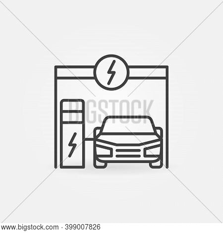 Ev Charging At Electric Recharging Point Vector Outline Concept Icon Or Design Element